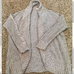 Open Cardigan with Cable Knit Detail